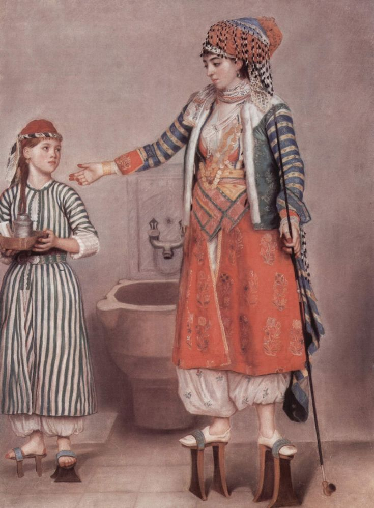 """LIOTARD Jean-Etienne (1702-1789 Swiss) - """"Turkish Lady"""", 1742, - these high shoes were also fashion in Venice"""