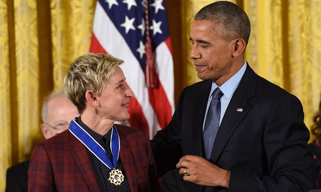 Obama gets 'choked up' presenting Ellen DeGeneres with Medal of Freedom – video