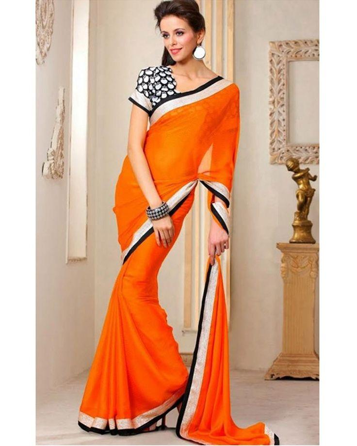 Stylelok Orange Bemberg Fashionable Saree
