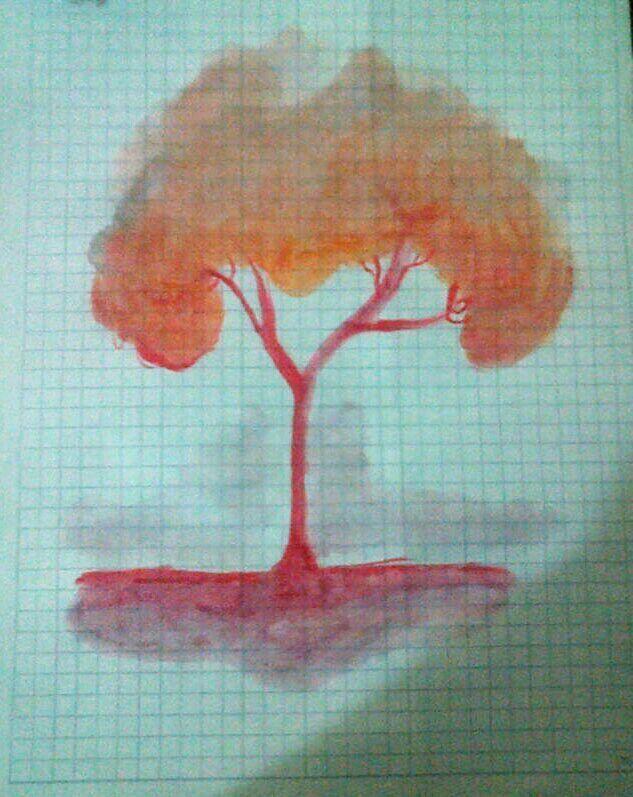 Árbol pintado con acuarelas