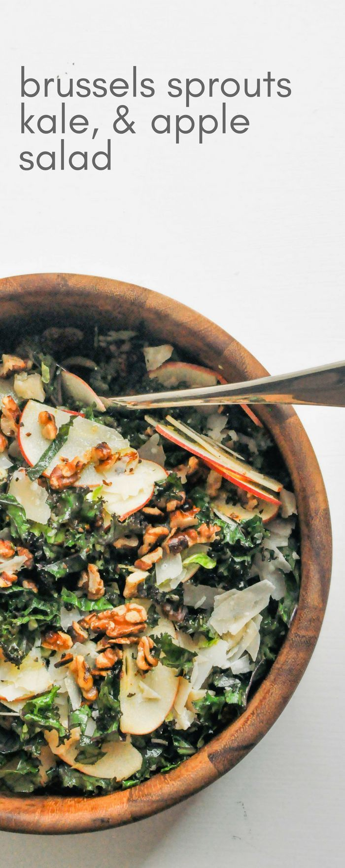 This shredded Brussels sprouts, kale, and apple salad is quick and easy to make! It's a delicious vegetarian side dish | This Healthy Table