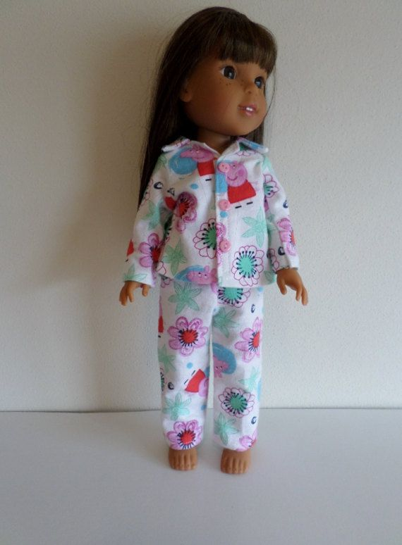 Floral flannel pajamas featuring Peppa Pig American made to