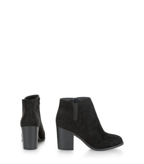 Black Suedette Block Heel Western Boots  | New Look