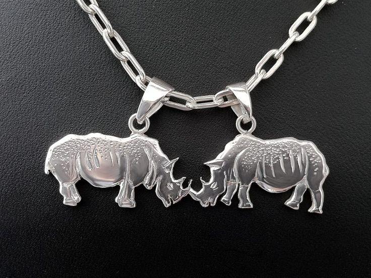 "#Colgante ""Pareja de #Rinocerontes"" #plata 950, calado de lamina 2mm, grabado a mano. #Silver #Pendant "" #Couple of #rhinoceros"" www.harmonia.cl"