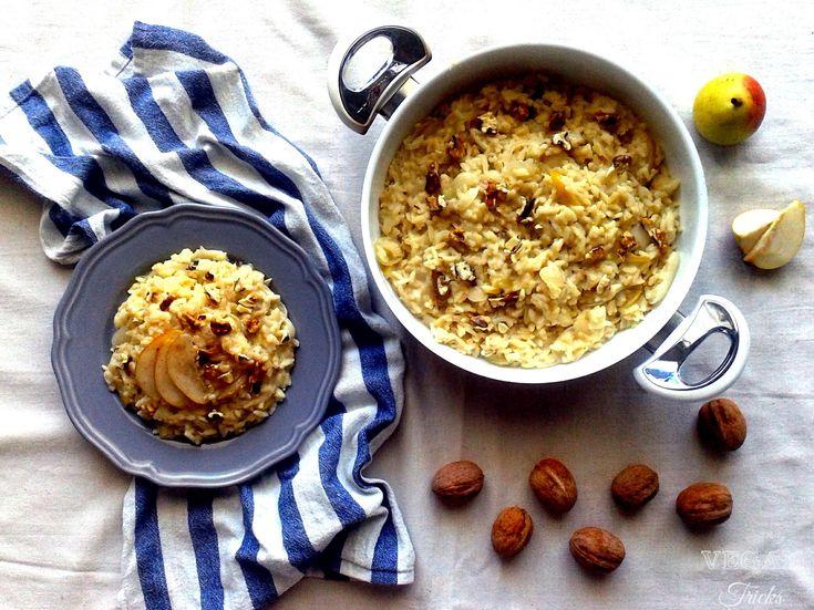 Risotto  (vegano) con pere e noci