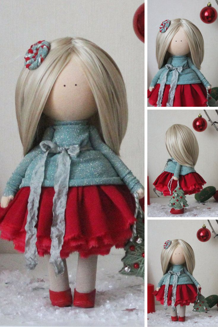 Christmas doll READY doll Fabric doll Tilda doll Textile doll Handmade doll Red doll Rag doll Baby doll Unique doll Art doll by Margarita
