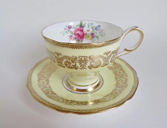 Vintage Teacup and Saucer Paragon Teacup Pale Yellow Paragon