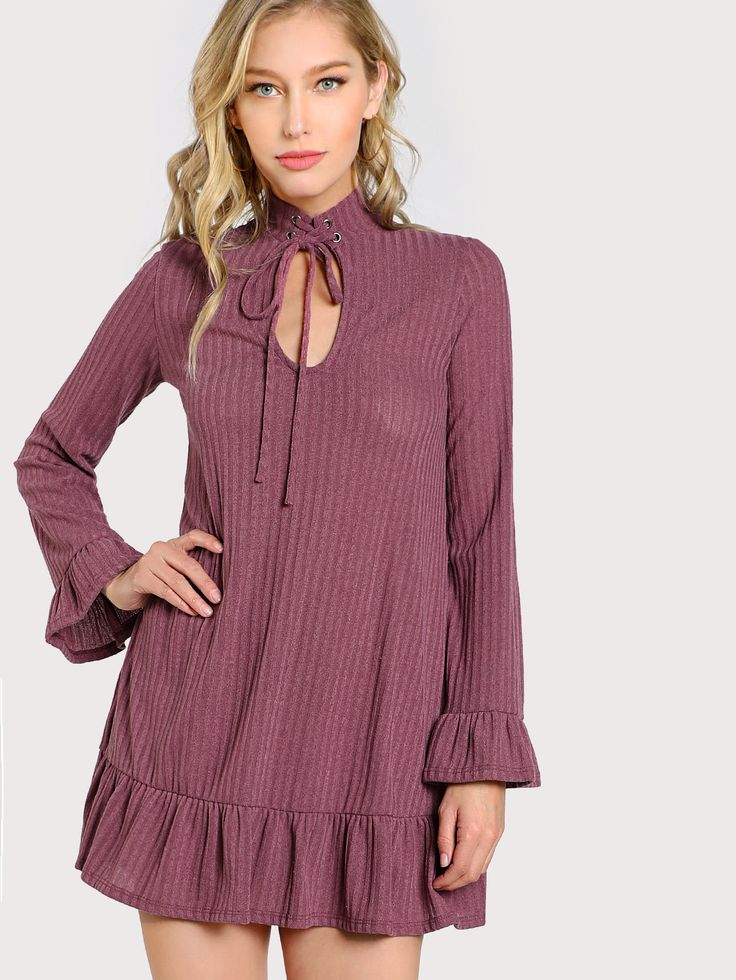 Shop Choker Ribbed Long Sleeve Flowy Dress OLIVE online. SheIn offers Choker Ribbed Long Sleeve Flowy Dress OLIVE & more to fit your fashionable needs.