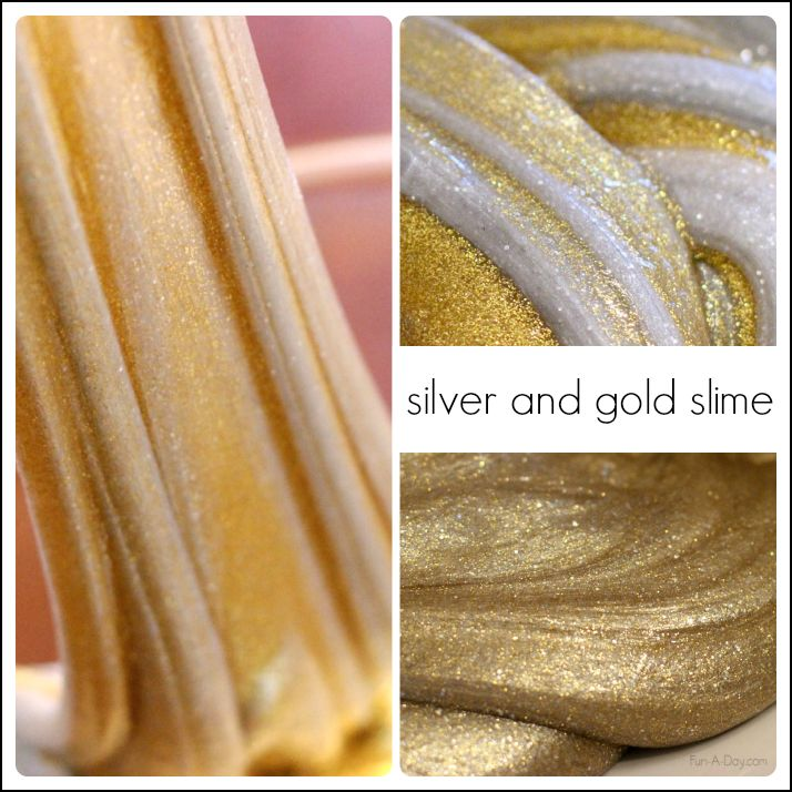 Gold and silver homemade slime recipes for kids