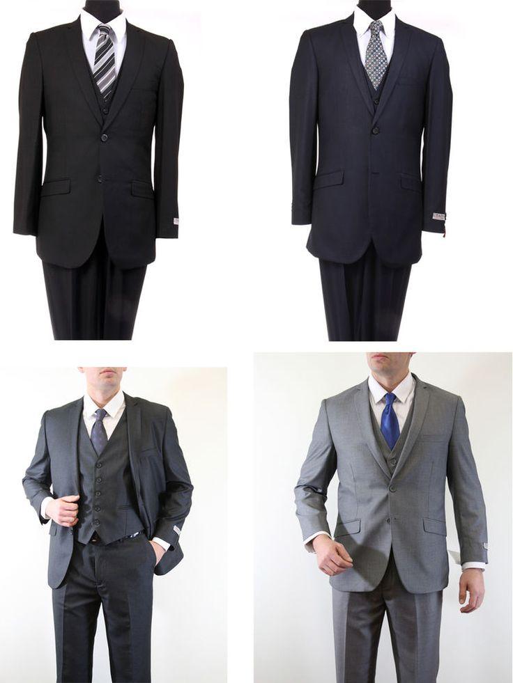 Men's 2 Button 3 Piece Vested Notch Lapel Flat Front Pants Slim Cut Fit Suit #Apparel99 #TwoButton