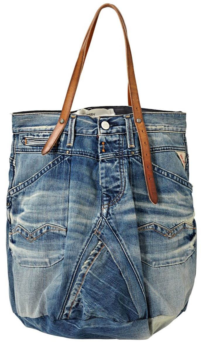 Replay shopper, tote bag, recycle, upcycle, denim, #DIY, pockets, cute, crafting idea