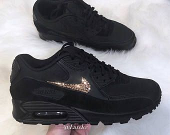 Nike Air Max 90 Black customized with Rose Gold SWAROVSKI® Xirius Rose-Cut  Crystals. ea0d43987