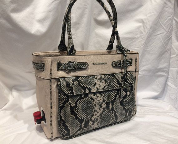 Stylish Wine Purse with Dispenser  Snake Tote by WinePurseBoutique