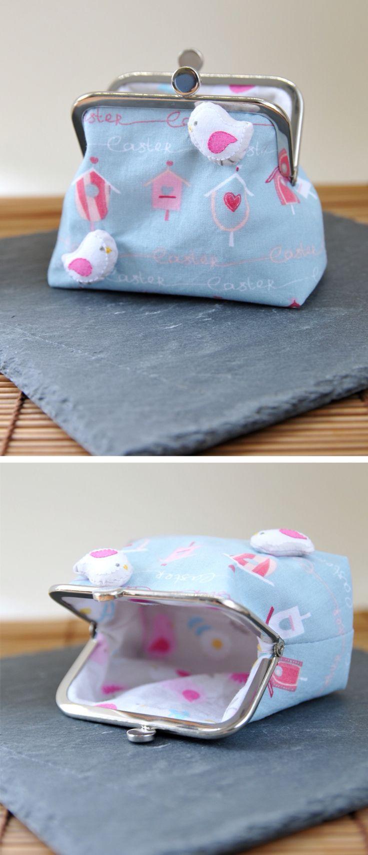 Clipverschluss-Täschchen mit Vogelhäuschen und Vögeln -- Prima als Geldbörse oder zur Aufbewahrung von Schmuck oder Kleinkram