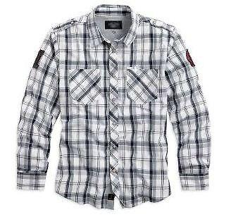 Koszula męska Skull Plaid Harley-Davidson. Wykonana z wysokiej jakości 100% bawełny koszula Harley-Davidson. Dwie kieszenie na piersiach, dodatkowa kieszonka na pióro, pagony na ramionach, ozdobne naszywki z logo marki na rękawach, na karczku i mankietach wszyta podszewka. Dostępna na www.Motocyklowy.pl #harley_davidson #koszula_harley