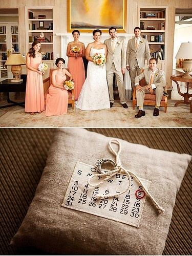 coral/light khaki; burlap calendar ringbearer's pillow