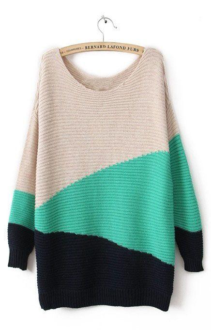 Green Black Beige Long Sleeve Geometric Asymmetrical Sweater I don't like wearing