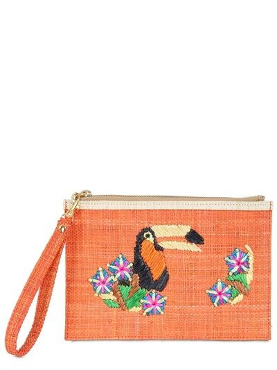 Serpui Marie Toucan Embroidered Straw Pouch on shopstyle.com