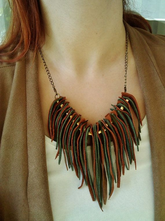 Gold Green Leather Fringe Necklace with Goldplated Beads by MikaMikaBags