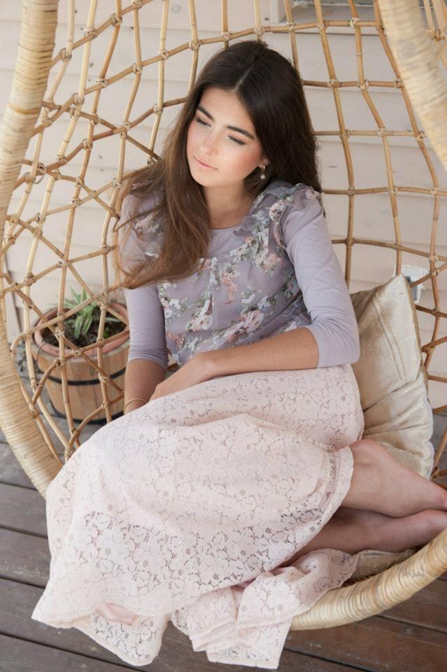 Grey shirt, cream lace skirt