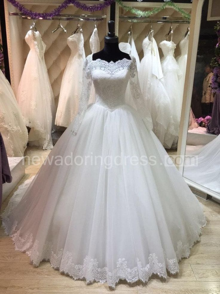 Bateau Neck Long Illusion Sleeve Tulle Ball Gown With Lace Hemline Buy Wedding Dress OnlineWedding