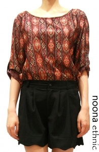 Tribal Print Blouse In Red