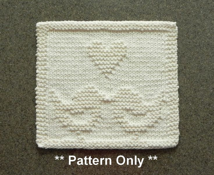 Knitted Quilt Block Patterns : Love birds knitted pattern for dishcloth or wash cloth