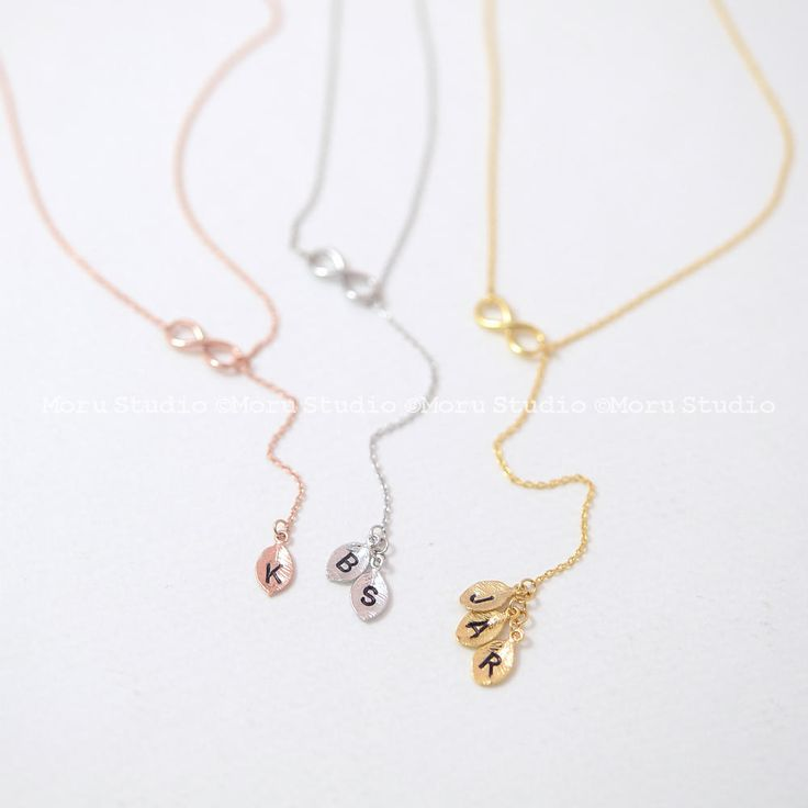 Dainty Infinity Drop Necklace with Stamped Initial Leaf, Personalized Lariat Necklace, Name Necklace Initial Y Necklace Bridesmaids Gift 153 by MoruStudio on Etsy