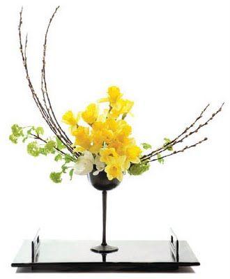 Ikebana styled floral arrangement