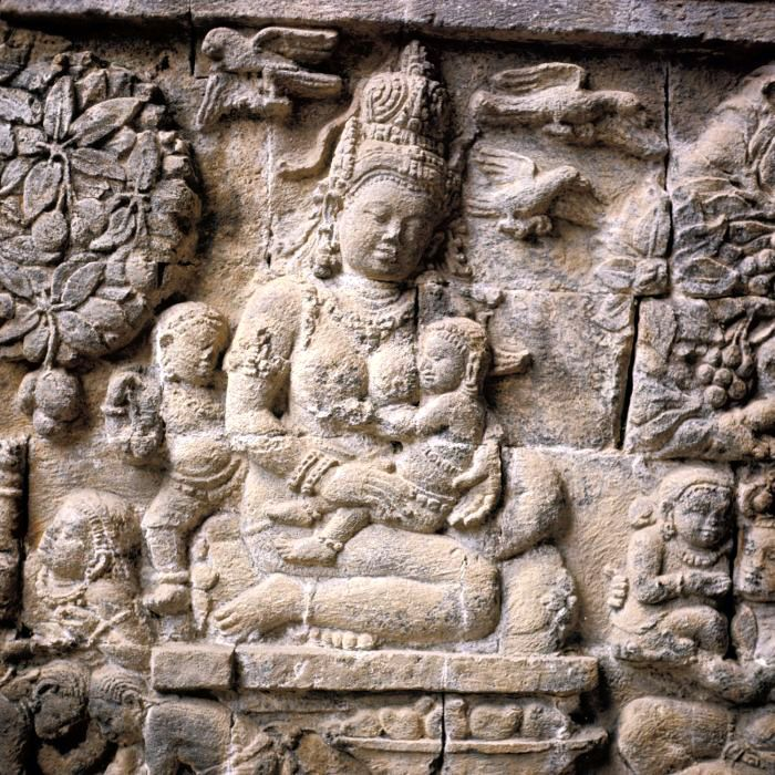 Relief stories and history about Buddhism temples of Mendut