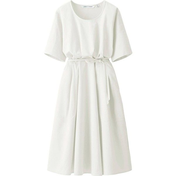 UNIQLO Women's Lemaire Seeksucker Short Sleeve Dress found on Polyvore featuring dresses, uniqlo dress, loose fit dress, uniqlo, textured dress and white day dress