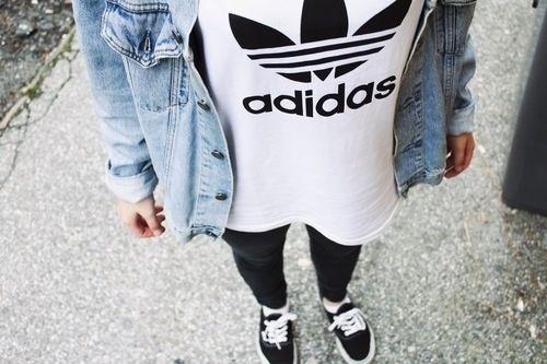 denim jacket, adidas tee, leggings, and vans