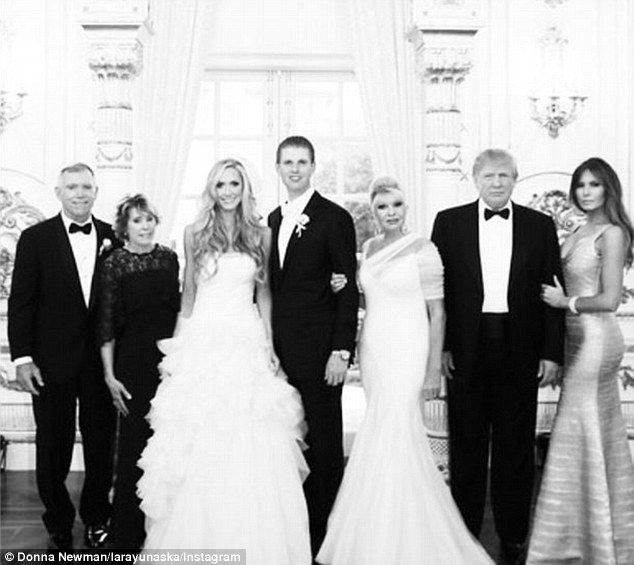 Lara Yunaska poses with Eric, her parents, Donald, Ivana and Melania #dailymail