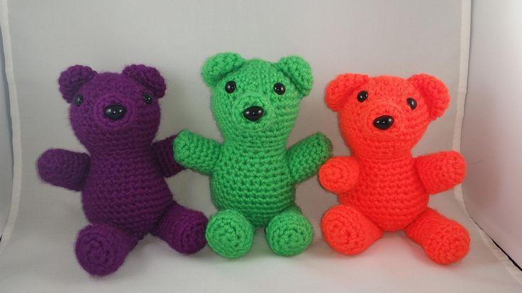 Small Teddy Bears Neon Pink, Blue, Orange, Purple, Yellow, Green, Light Brown by amigurumiNstitch on Etsy