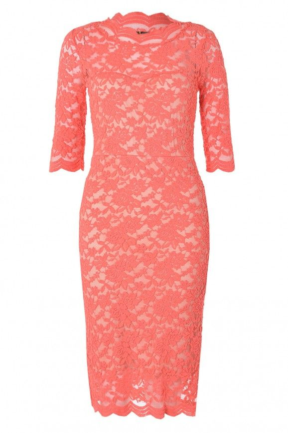 Lucy Full Lace Midi Dress in Coral