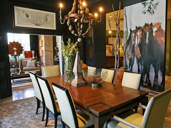 Beautiful Horse Painting In Contemporary Dining Room Ideas Modern Table To Make Your Shine