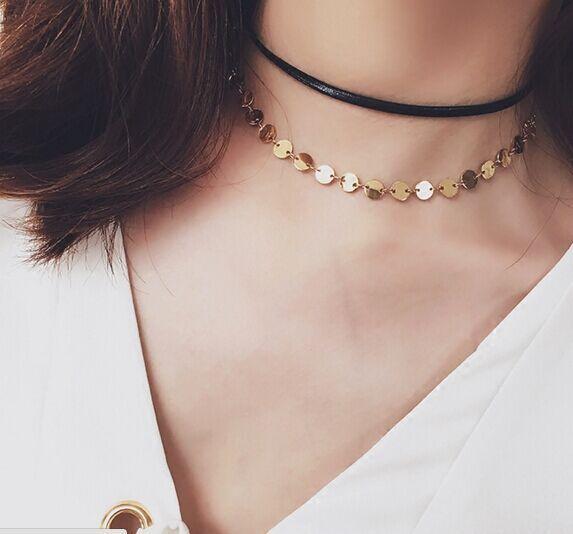 New fashion perhiasan kecil putaran rantai kalung choker hadiah untuk wanita gadis N1886