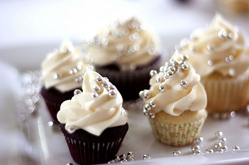 mini cupcakes with edible beads.  champange frosting with gold beads