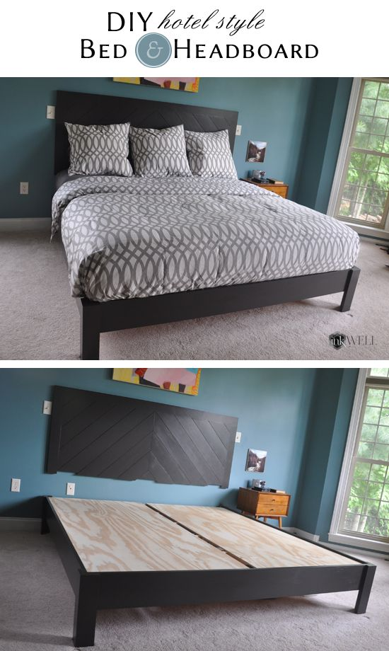 Step by step tutorial with images giving instructions on how to make a king size platform bed with a hotel style chevron headboard.