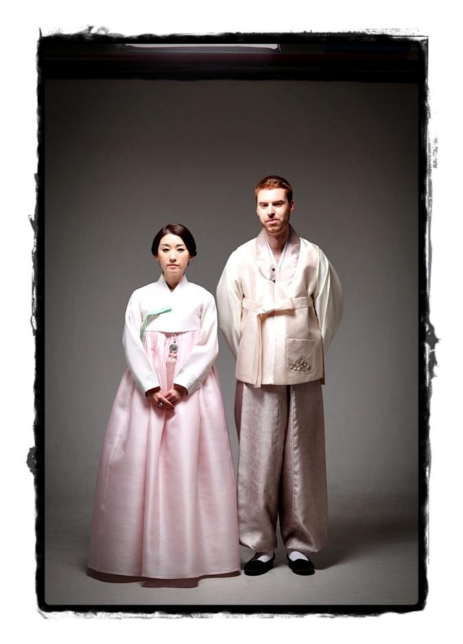 Traditional Hanbok-Korean wedding attire.