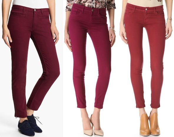 A.P.C. Skinny Ankle Jeans in Bordeaux / Habitual Grace Skinny Jeans in Dazzling /  KORAL Low-Rise Zip Skinny Jeans in Ox Blood