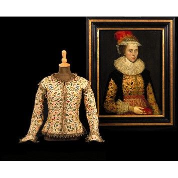This fine early 17th-century woman's jacket is particularly significant because it is shown being worn in the Portrait of Margaret Layton (museum no. E.214-1994), attributed to Marcus Gheeraerts the Younger (1561-1636) and displayed alongside it.