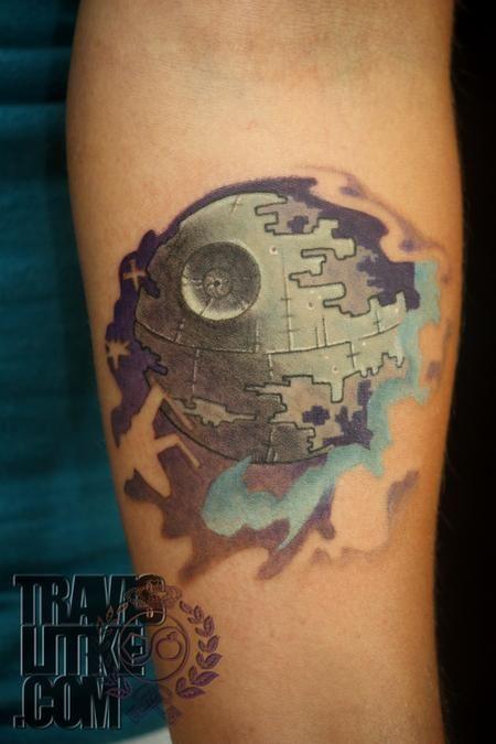 death star tattoo | ... of the Jedi Death Star Tattoo w/ Empire Battle Background : Tattoos