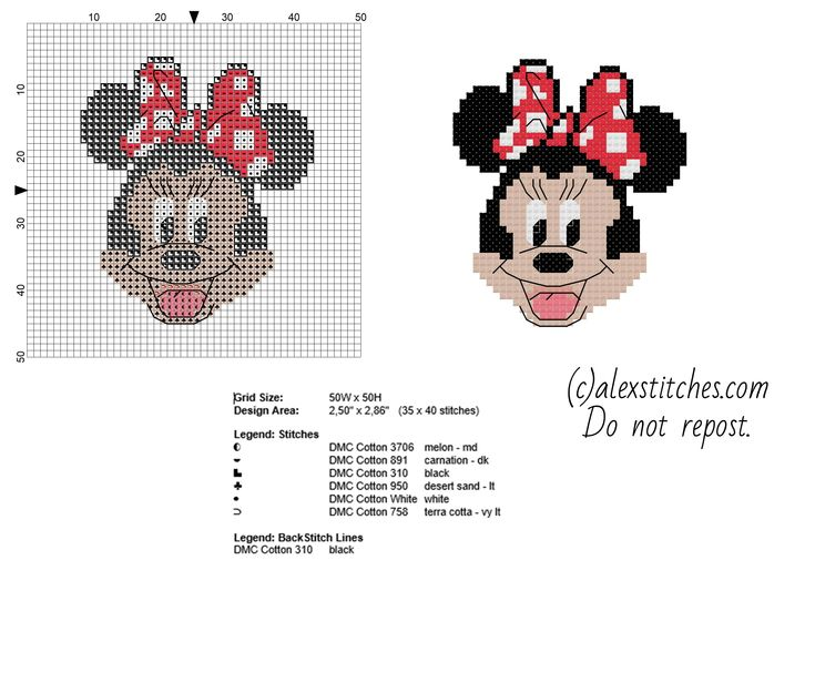 Minnie Mickey Mouse cartoon character free small cross stitch pattern
