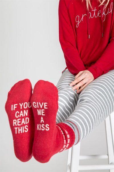 PJ Salvage Give Me A Kiss Socks Cute Slippers 5a83dd1ea