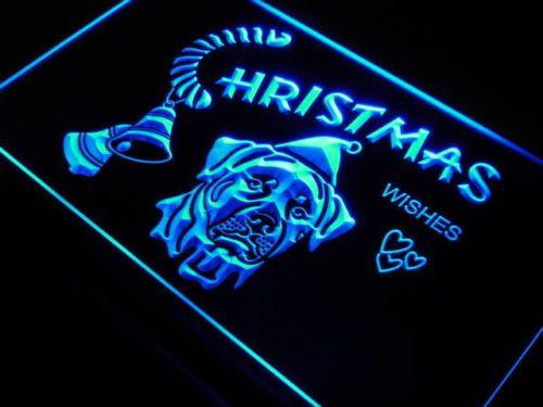 Christmas Rottweiler Dog Pet Shop Neon Signs