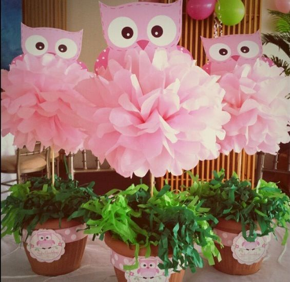 Good Centerpieces   Baby Shower Bottom Pot Could Possibly Be A Small Real Plant  And Instead Of An Owl, An Elephant!