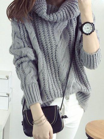 Oversized Knit Turtle Neck Sweater