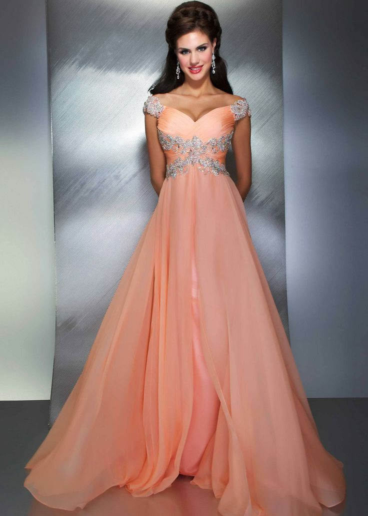 22 best Peach & Coral Wedding Bridal Evening Gowns images on ...