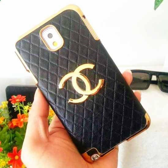 Chanel Samsung Galaxy Note 3 Case Designer Leather Cover Black